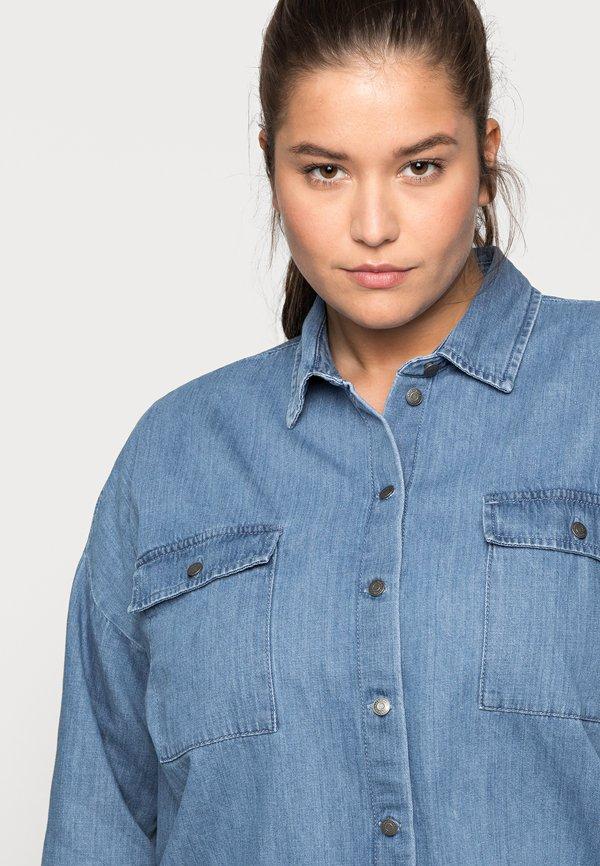 Noisy May Curve NMFLANNY LONG SHACKET - Koszula - medium blue denim/niebieski OZPQ
