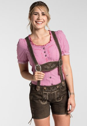 OLGA - Leather trousers - dunkelbraun