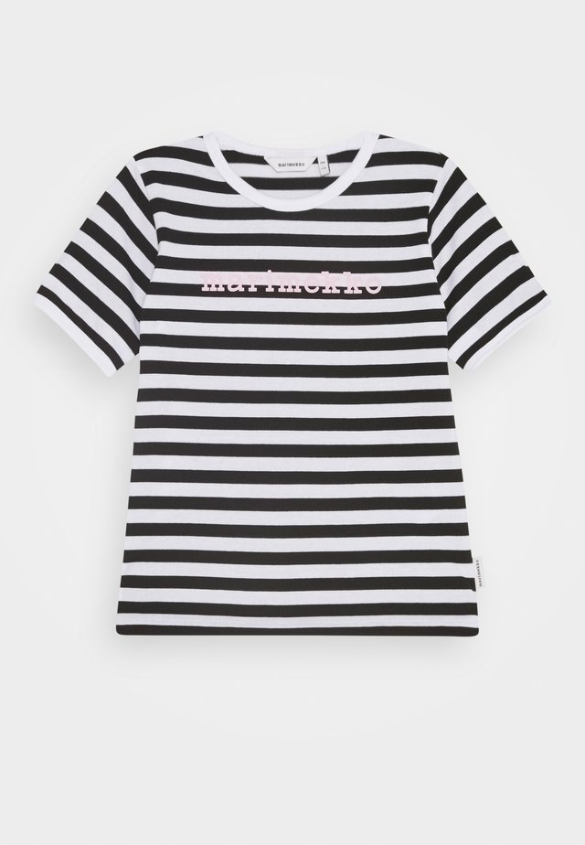 LEUTO TASARAITA - Printtipaita - black/white