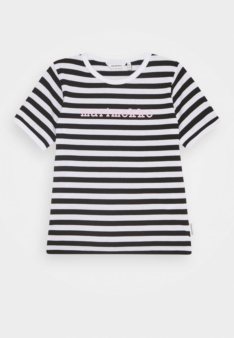 Marimekko - LEUTO TASARAITA - T-shirt imprimé - black/white