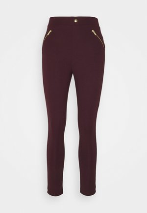 PUNTO LEGGING WITH ZIP DETAIL - Trousers - bordeaux
