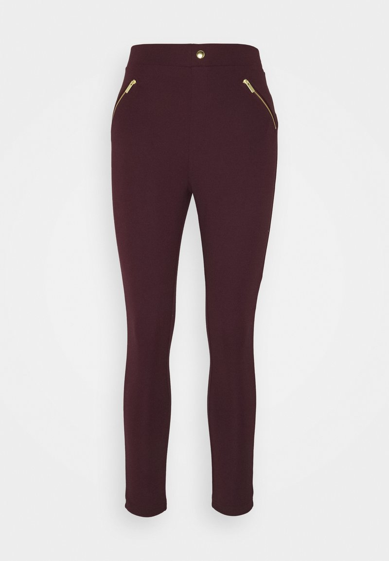 Anna Field - PUNTO LEGGING WITH ZIP DETAIL - Trousers - bordeaux