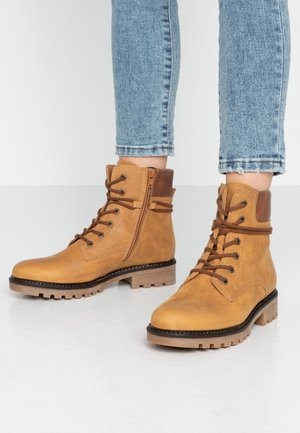 Lace-up ankle boots - corn/peanut