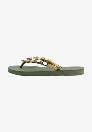 CHRYSTAL FLOWER - T-bar sandals - army green
