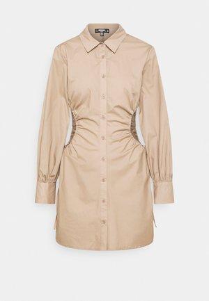 RUCHED CUT OUT MINI SHIRT DRESS - Shirt dress - taupe