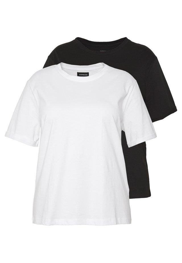 2 PACK - T-paita - white/black