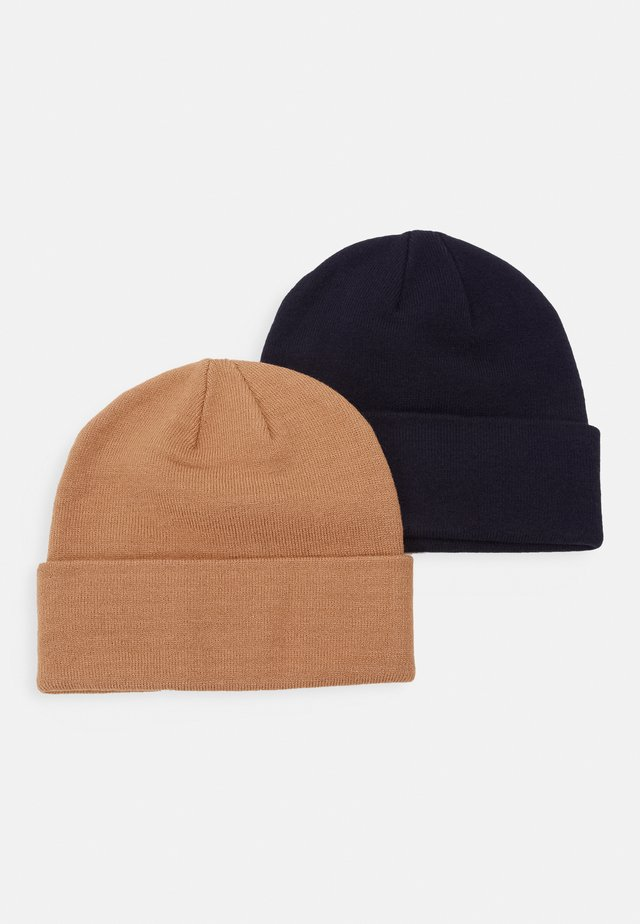 2 PACK - Bonnet - dark blue/camel