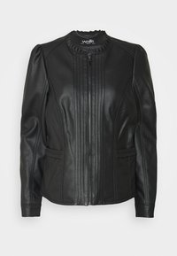 Wallis - VICTORIANA FRILL - Faux leather jacket - black - 0