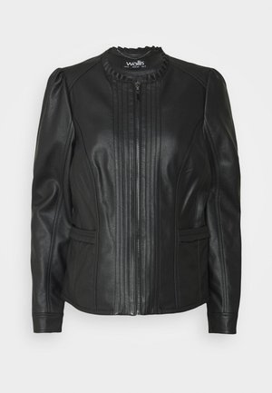 VICTORIANA FRILL - Faux leather jacket - black