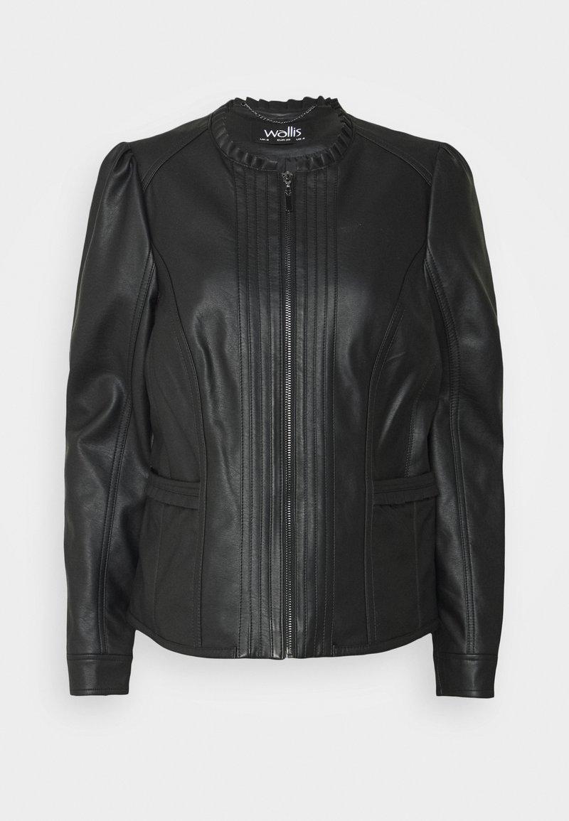 Wallis - VICTORIANA FRILL - Faux leather jacket - black