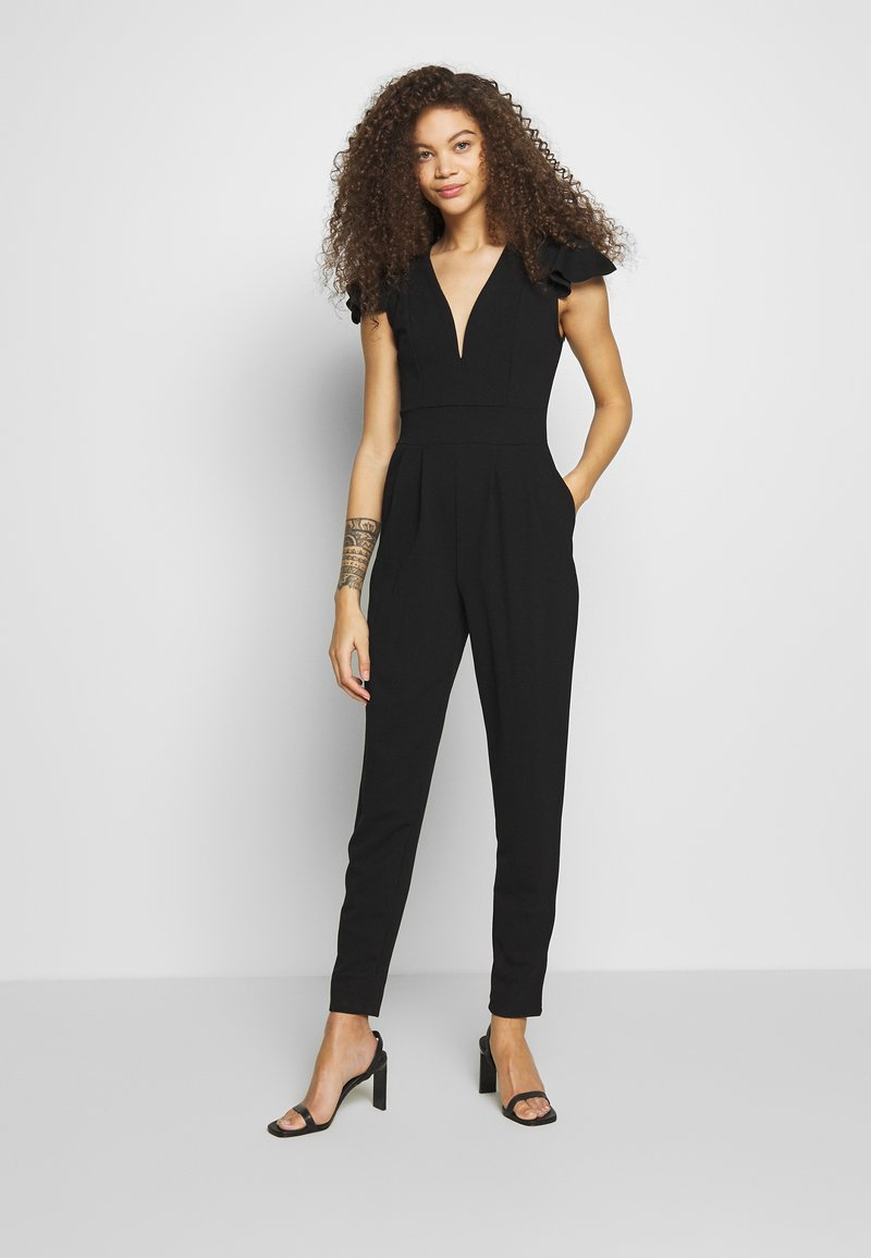 WAL G PETITE - FRILL SHOULDERS V NECK - Jumpsuit - black