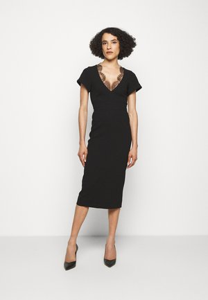 V NECK LACE DETAIL FITTED - Maxi dress - black