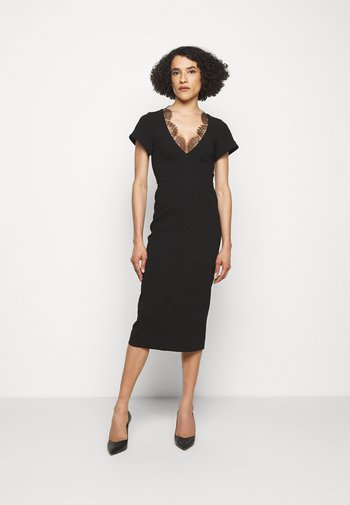 V NECK LACE DETAIL FITTED - Maxi šaty - black