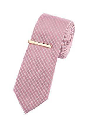 SAGE GEOMETRIC TIE WITH TIE CLIP - Tie - pink