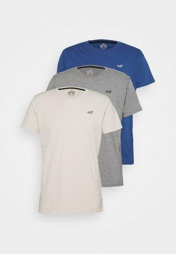 CREW  3 PACK - Basic T-shirt - tan/navy/grey