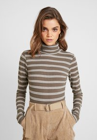 Missguided - PURPOSEFUL STRIPED TURTLE NECK BODYSUIT - Topper langermet - khaki - 0