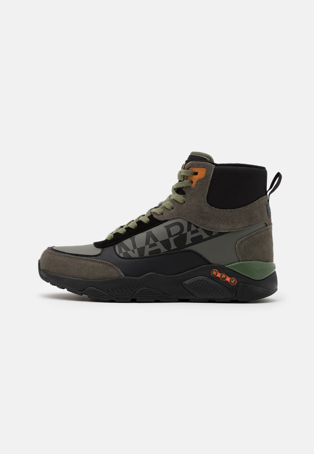 High-top trainers - green/black