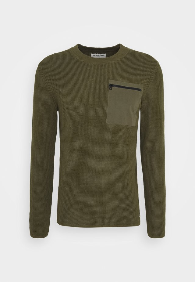 STRUCTURED CREW WITH POCKET - Pullover - olive