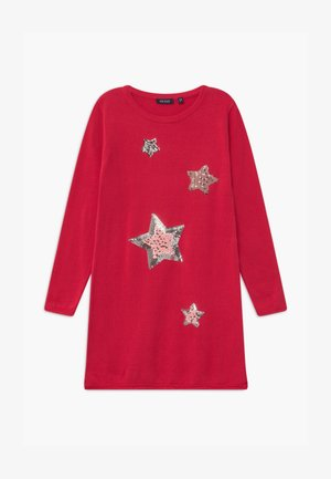 KIDS SEQUIN STARS - Strickkleid - hochrot