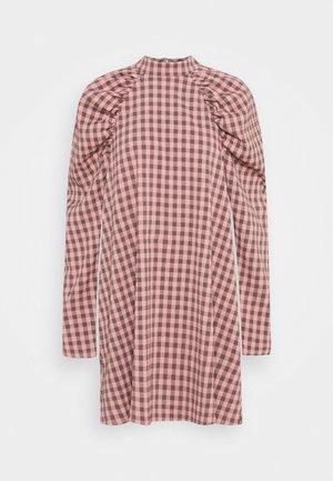 CHECK PUFF SLEEVE A LINE DRESS - Korte jurk - pink