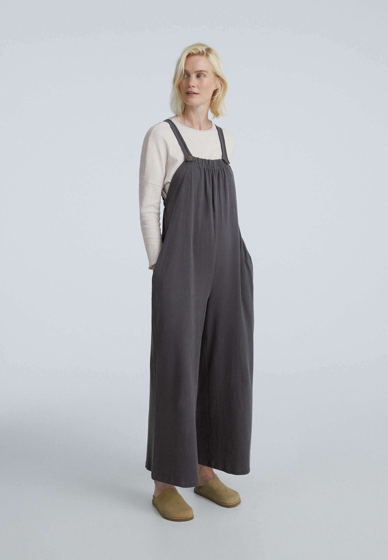 OYSHO - LONG STRAPPY WITH POCKETS - Jumpsuit - anthracite