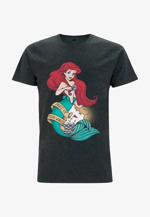 Print T-shirt - melange black