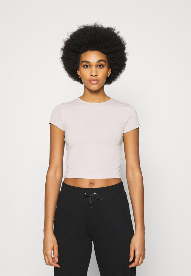 PERFECT CROPPED TEE - Jednoduché triko - greige