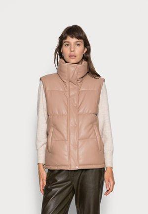 DUVET PUFFER VEST - Waistcoat - tan vegan leather