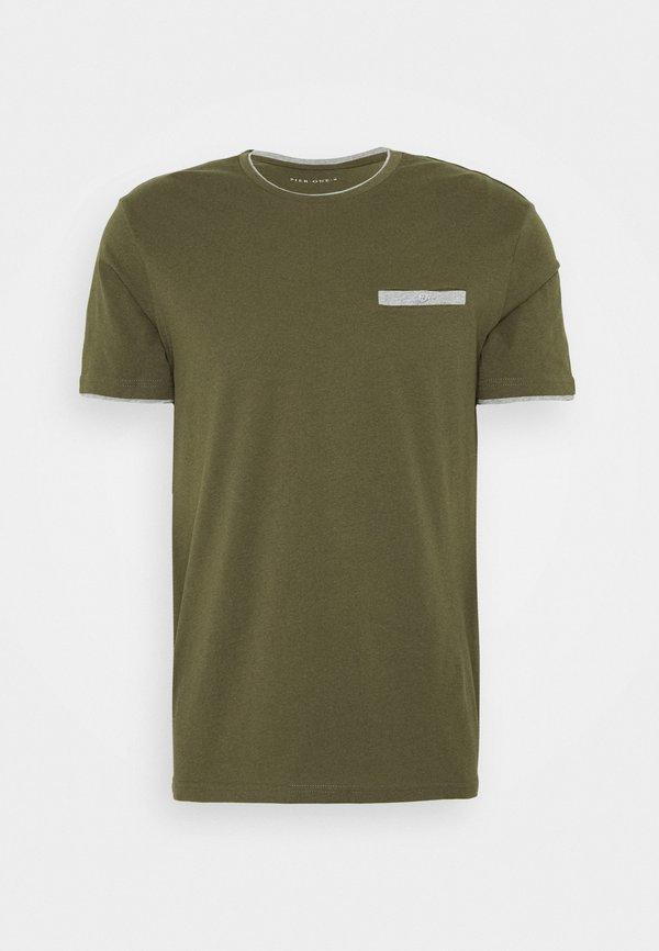 Pier One T-shirt z nadrukiem - oliv/oliwkowy Odzież Męska ZMRD