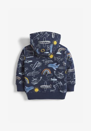 NAVY AEROPLANE ALL OVER PRINT ZIP THROUGH HOODY (3MTHS-7YRS) - Cardigan - blue