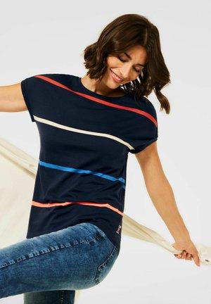 MIT STREIFEN - Print T-shirt - blau