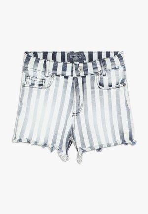 GIRLS HIGH WAIST - Denim shorts - blau/weiß