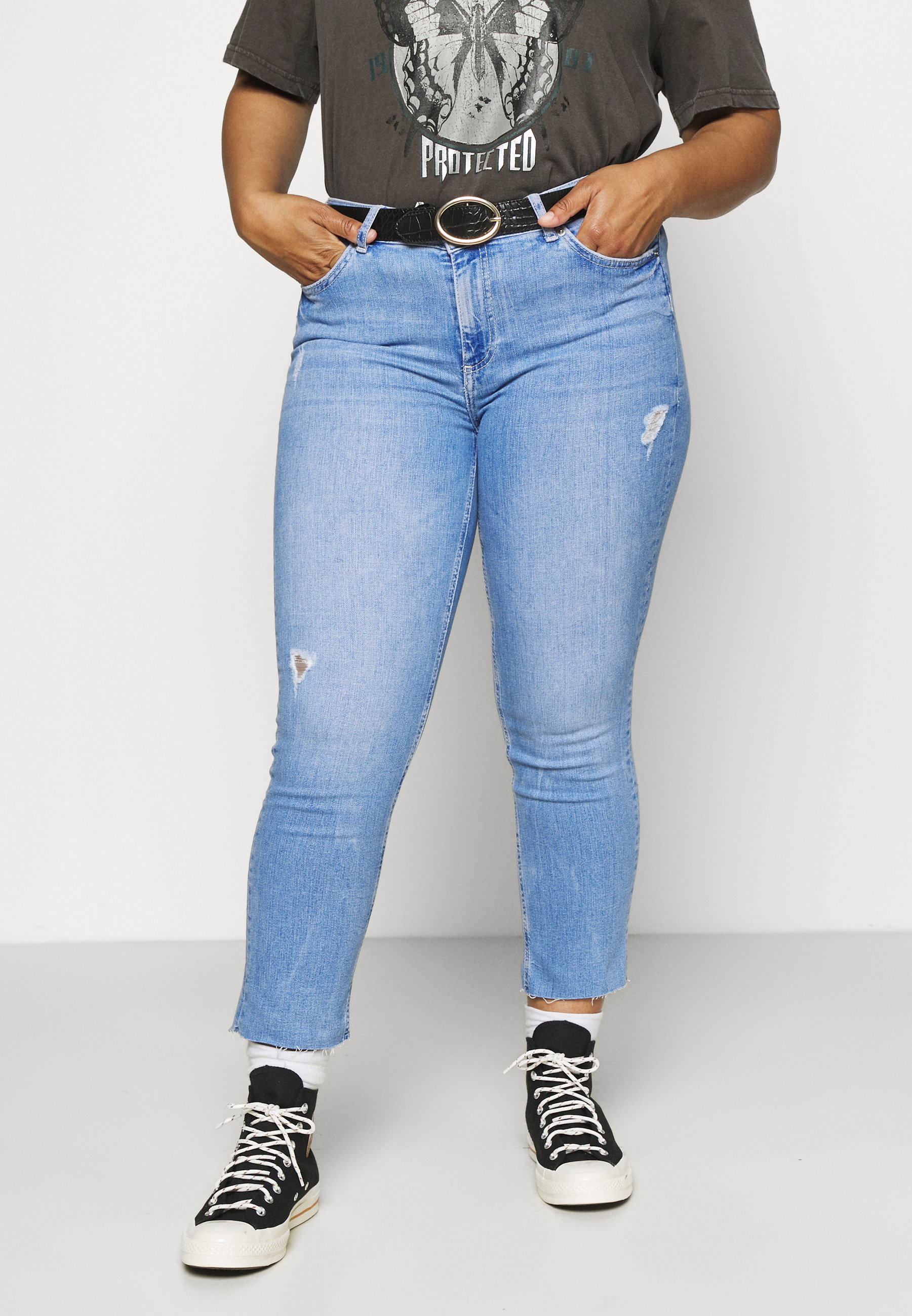 Women PCDELLY STRAIGHT ELECTRIC - Straight leg jeans
