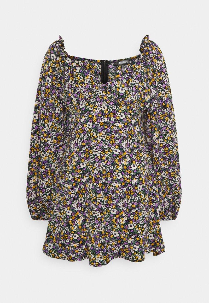 Missguided - MILKMAID SKATER DRESS FLORAL - Kjole - purple
