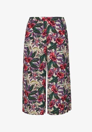 Pantalon classique - beige floral aop