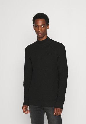 SLHIRVEN HIGH NECK - Stickad tröja - black