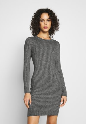 Knitted jumper mini high neck dress - Pouzdrové šaty - grey melange