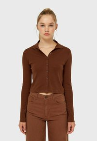 Stradivarius - Button-down blouse - mottled brown - 0