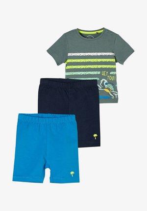 Shorts - petrol/dark blue/olive placed print