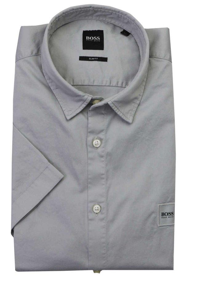 BOSS SLIM FIT HEMD MAGNETON_1 HALBARM GEKNˆPFT GRAU - Shirt - grau