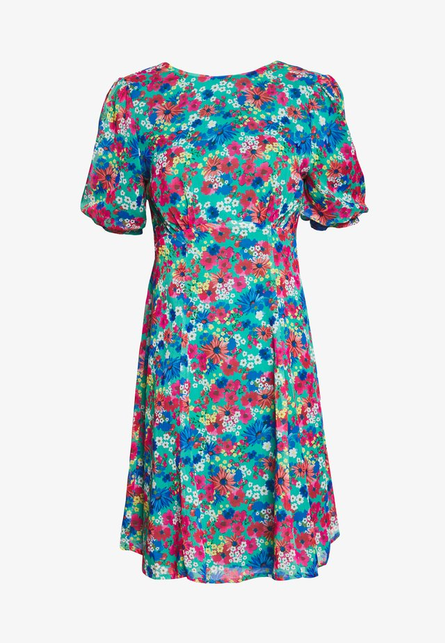 TIE BACK FLORAL PRINT MIDI DRESS - Day dress - multi coloured