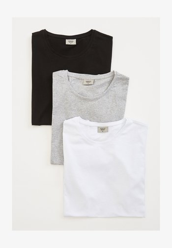3PACK - Camiseta básica - black/ grey/ white