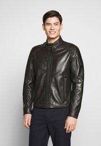 Strellson - FLAG - Leather jacket - dark brown - 0