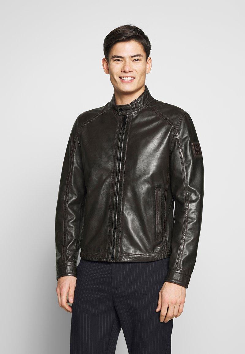Strellson - FLAG - Leather jacket - dark brown