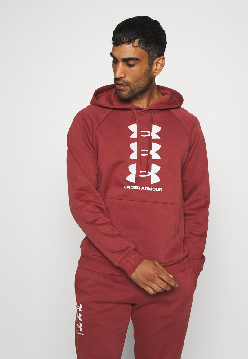 Under Armour - RIVAL MULTILOGO - Hoodie - cinna red/onyx white