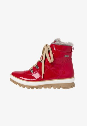 Lace-up ankle boots - red patent