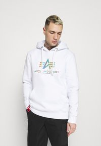 Alpha Industries - BASIC HOODY RAINBOW PRINT - Hoodie - white - 0