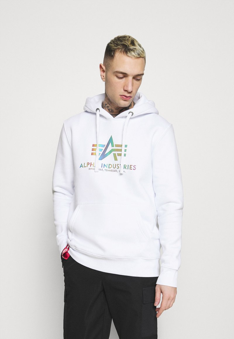 Alpha Industries - BASIC HOODY RAINBOW PRINT - Hoodie - white