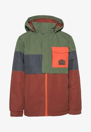 SNOWJACKET - Snowboard jacket - mottled dark green/brown/orange