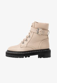 Even&Odd - LEATHER LACEUP BOOTIE - Cowboy/biker ankle boot - beige - 1